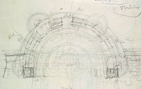 Frank Lloyd Wright's design sketch of Monona Terrace in 1938
